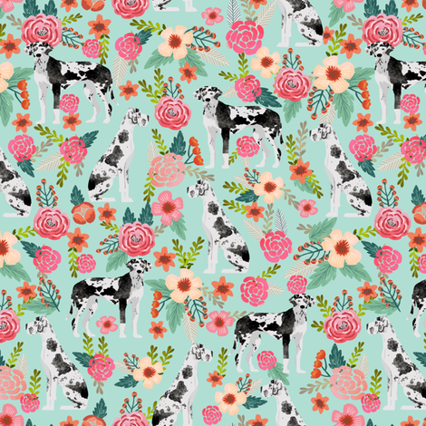 great dane florals cute floral flowers dogs fabric best dog breeds dog designs cute dog fabrics florals les fleurs fabric fabric by petfriendly on Spoonflower - custom fabric
