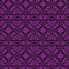 Neon Purple Isometric Cross Doodle