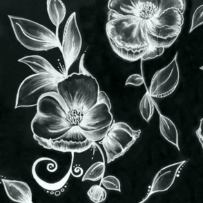 balck and white hand drawn floral