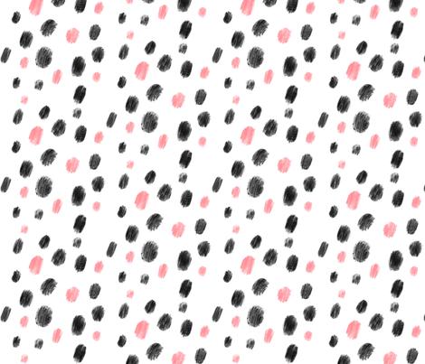 Pink and black dots - Big pattern fabric by howjoyful on Spoonflower - custom fabric