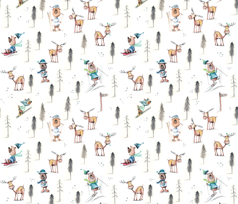 Keep Calm and Go Skiing - smaller fabric by mulberry_tree on Spoonflower - custom fabric
