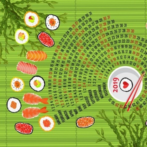 2019 Celebration of Sushi Calendar green bamboo