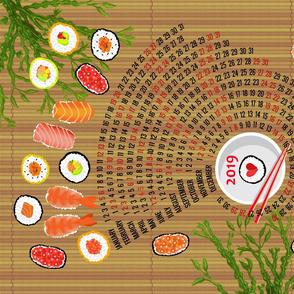 2019 Sushi Celebration Calendar with Bamboo background