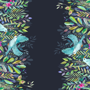 Little Garden Birds double border print