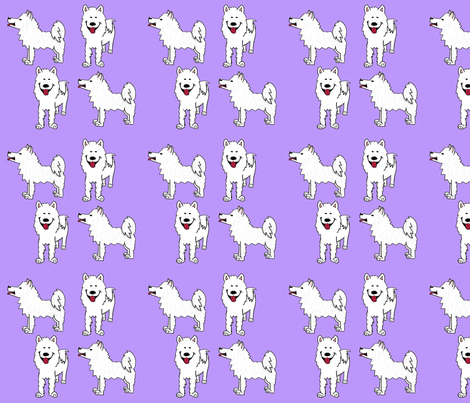 Samoyed on purple fabric by cartoonist on Spoonflower - custom fabric