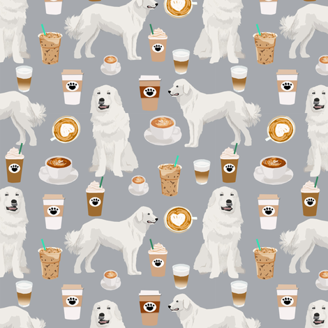 great pyrenees dog fabric cute coffees and dogs fabric best quilting fabrics great pyrenees dogs fabric by petfriendly on Spoonflower - custom fabric