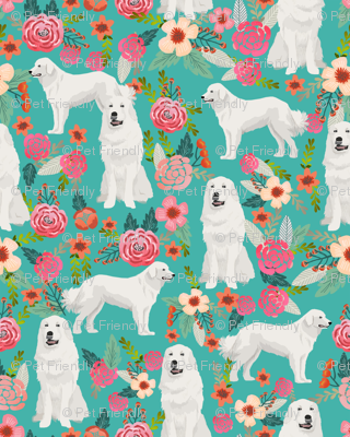 great pyrenees floral dog fabric cute dogs design best florals pyrenees florals fabric