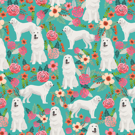 great pyrenees floral dog fabric cute dogs design best florals pyrenees florals fabric fabric by petfriendly on Spoonflower - custom fabric