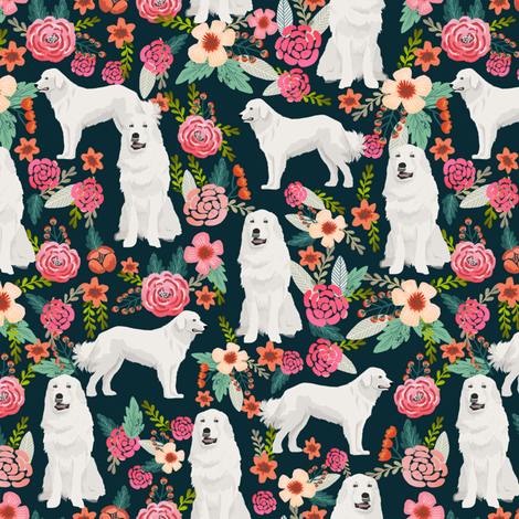 great pyrenees dog fabric cute vintage florals dog design best florals fabric for dog lovers cute florals fabric fabric by petfriendly on Spoonflower - custom fabric