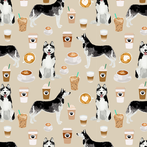 husky coffee fabric cute dog fabric best quilting fabrics cute huskies and coffees fabric best dog design cute dogs fabric by petfriendly on Spoonflower - custom fabric
