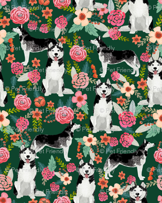 husky floral fabric cute huskies fabric best dog fabric quilting fabrics cute dog quilting design