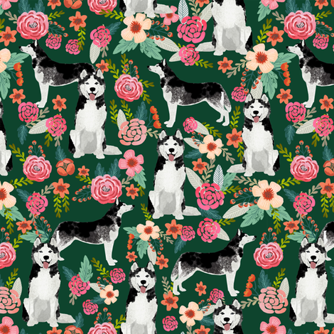 husky floral fabric cute huskies fabric best dog fabric quilting fabrics cute dog quilting design fabric by petfriendly on Spoonflower - custom fabric