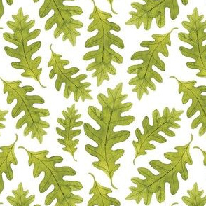 Green Watercolor Oak Tree Leaves Seamless Pattern