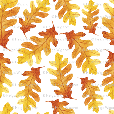 Orange Watercolor Oak Tree Leaves Seamless Pattern