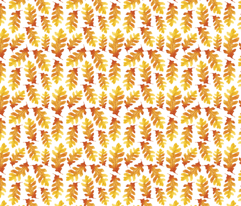 Orange Watercolor Oak Tree Leaves Seamless Pattern fabric by helga_wigandt on Spoonflower - custom fabric