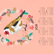 2019  goldfinch tea towel calendar bird design british garden birds by andrea lauren