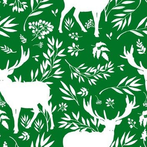 Deer Silhouette in Green