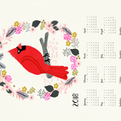 2018  tea towel calendar cardinal red birds garden bird andrea lauren