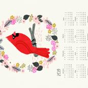 2019  tea towel calendar cardinal red birds garden bird andrea lauren