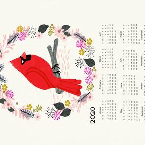 2020  tea towel calendar cardinal red birds garden bird andrea lauren