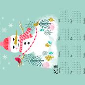 2018 tea towel let it snow snowman christmas holiday tea towel