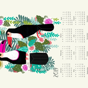 2019 Toucan Tea Towel Calendar - birds tea towel design by Andrea Lauren