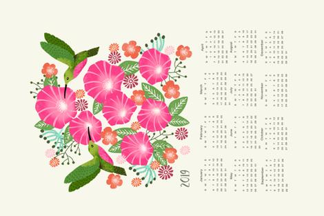 2019  tea towel hummingbirds calendar  fabric by andrea_lauren on Spoonflower - custom fabric