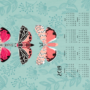 2019 Tea Towel Calendar moth butterflies tea towels