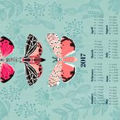 2017 Tea Towel Calendar moth butterflies tea towels
