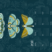 2018 Tea Towel Moth Calendar tea towels moths butterflies