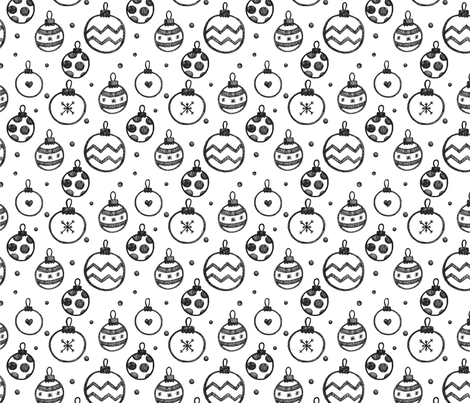 Christmas Decorations black and white fabric by ollysweatshirt on Spoonflower - custom fabric