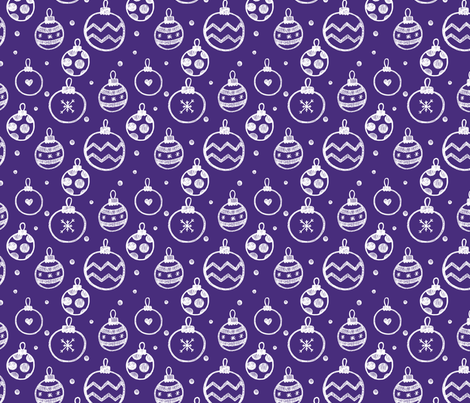Christmas Decorations violet seamless pattern fabric by ollysweatshirt on Spoonflower - custom fabric