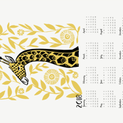 2018 Giraffe Tea Towel Calendar linocut illustration