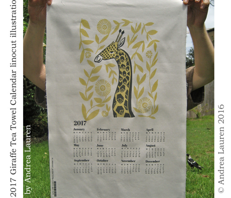 2017 Giraffe Tea Towel Calendar linocut illustration
