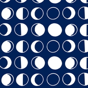 Cycle of the Moon -- white on navy