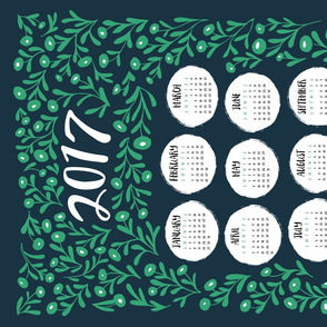 Tea Towel 2017 - Green Floral