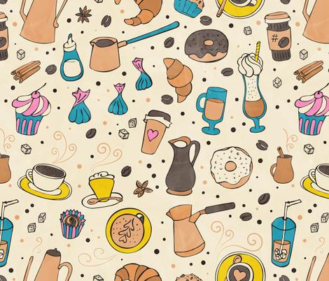 Coffee seamless white watercolor fabric by lidiebug on Spoonflower - custom fabric