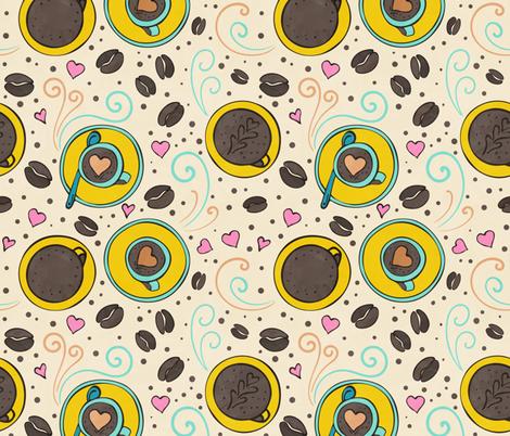 Coffee bean seamless white watercolor fabric by lidiebug on Spoonflower - custom fabric