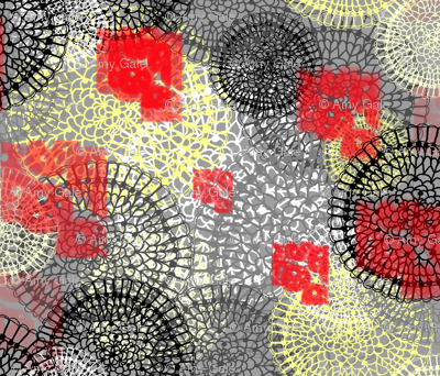 Lace Doilies Gift Wrap, yellow gray grey red black