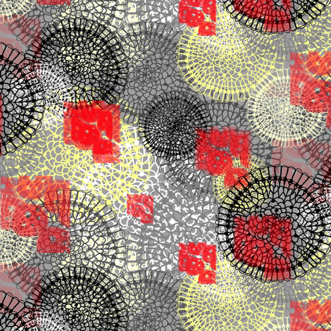 Lace Doilies Gift Wrap, yellow gray grey red black fabric by amy_g on Spoonflower - custom fabric