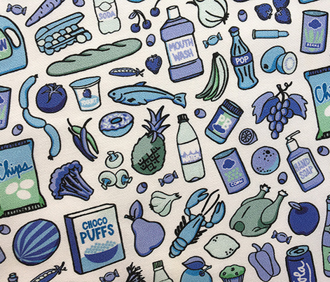 Shopping Spree* (Blues) || food doodle cartoon illustration vegetables fruit grocery market supermarket store
