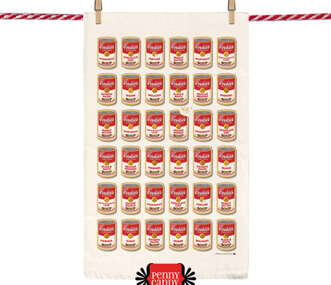 Snicker Doodle Soup Tea Towel || cookies cans pop art Andy Warhol food typography cut and sew diy kitchen