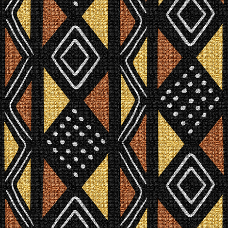 Mudcloth Inspired Dotted Diamonds and Zigzags fabric by eclectic_house on Spoonflower - custom fabric