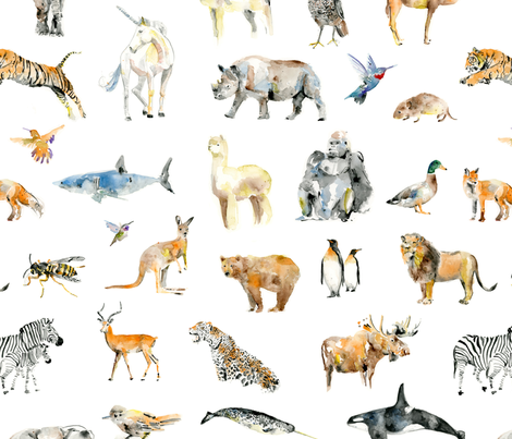 Watercolor Animals fabric by natalie_cooperman on Spoonflower - custom fabric