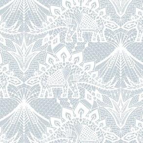 Stegosaurus Lace - White / Silver