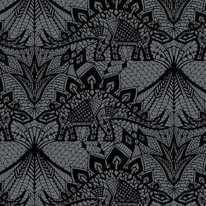Stegosaurus Lace - Black / Grey