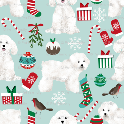 bichon christmas fabric cute bichon frise fabric best dogs fabric cute dog design