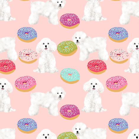 bichon frise dog fabric cute donuts design best dogs fabric for quilting cute dogs fabric by petfriendly on Spoonflower - custom fabric
