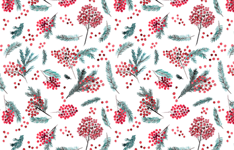 Christmas watercolor berries fabric by rebecca_reck_art on Spoonflower - custom fabric