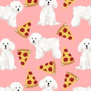 bichon frise dog fabric cute dogs pizza design best dog fabric cute pizzas fabric best dogs fabric